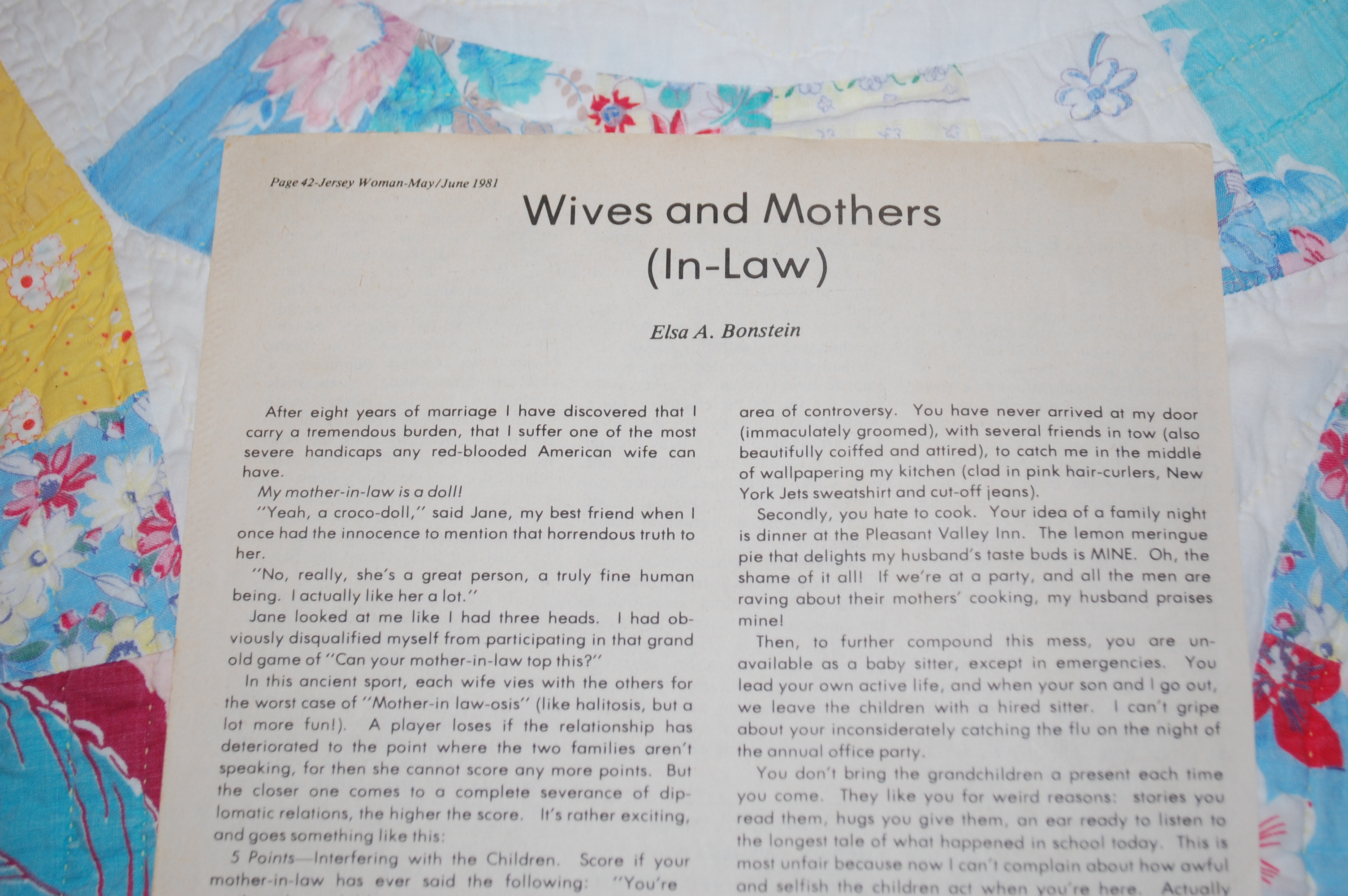 My Writing Village: Mother-in-law Article - ElsaBonstein com